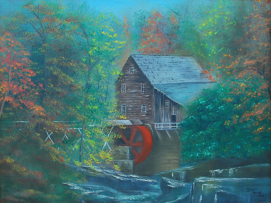 Landscape Painting - Water Wheel House  by Dawn Nickel