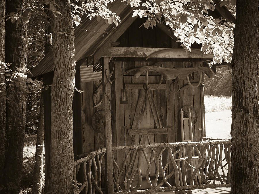 Shed Photograph - Water Wheel Shed I Sepia by Robert J Andler