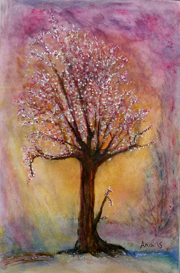 Cherry Blossom Tree Cheerful Colors Digital Art - Watercolor by Anais DelaVega