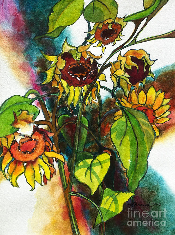 Paintings Painting - Sunflowers On The Rise by Kathy Braud