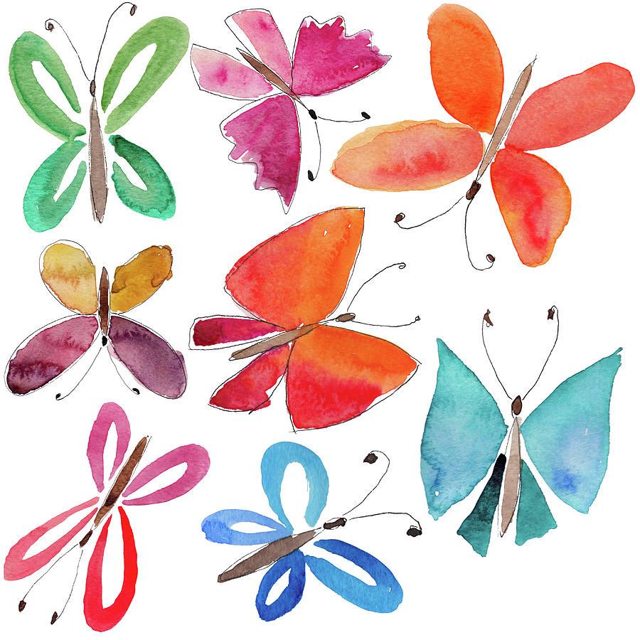 Watercolor Butterflies Digital Art by Anndoronina