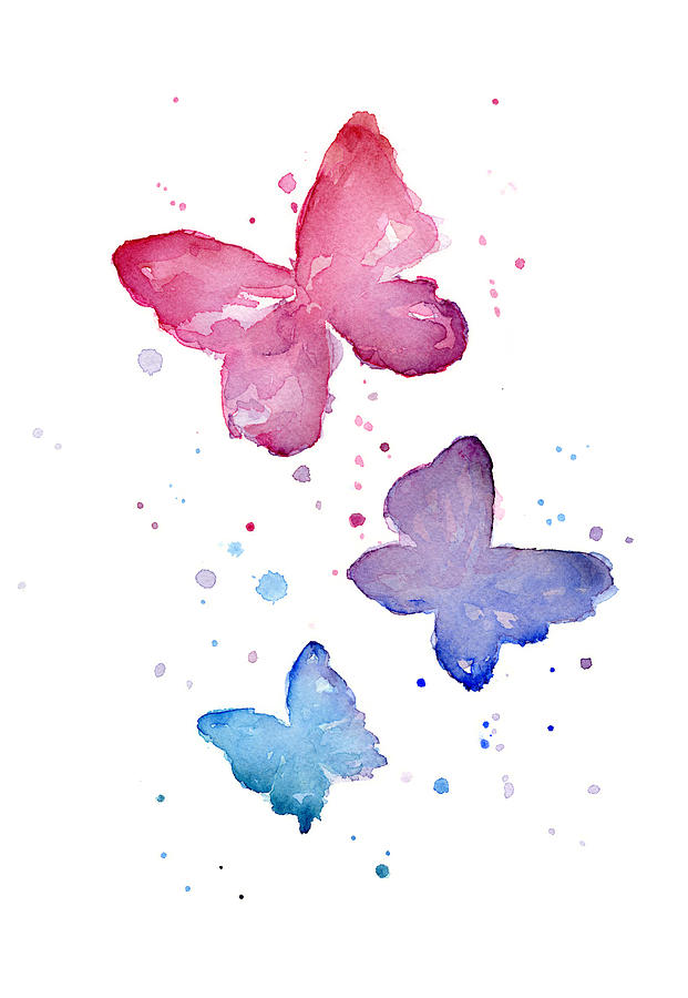Watercolor Butterflies Painting By Olga Shvartsur