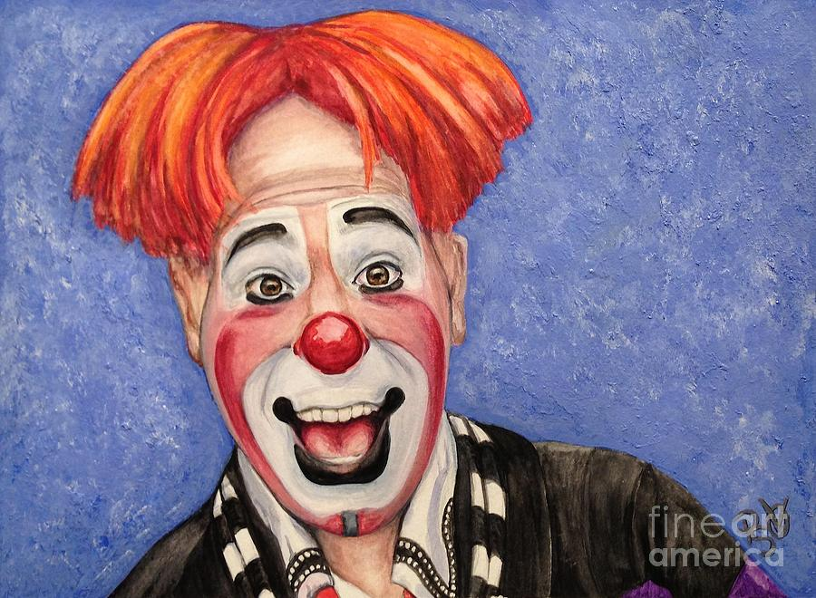 Kelly Miller Circus Painting - Watercolor Clown #7 Ryan Combs by Patty Vicknair