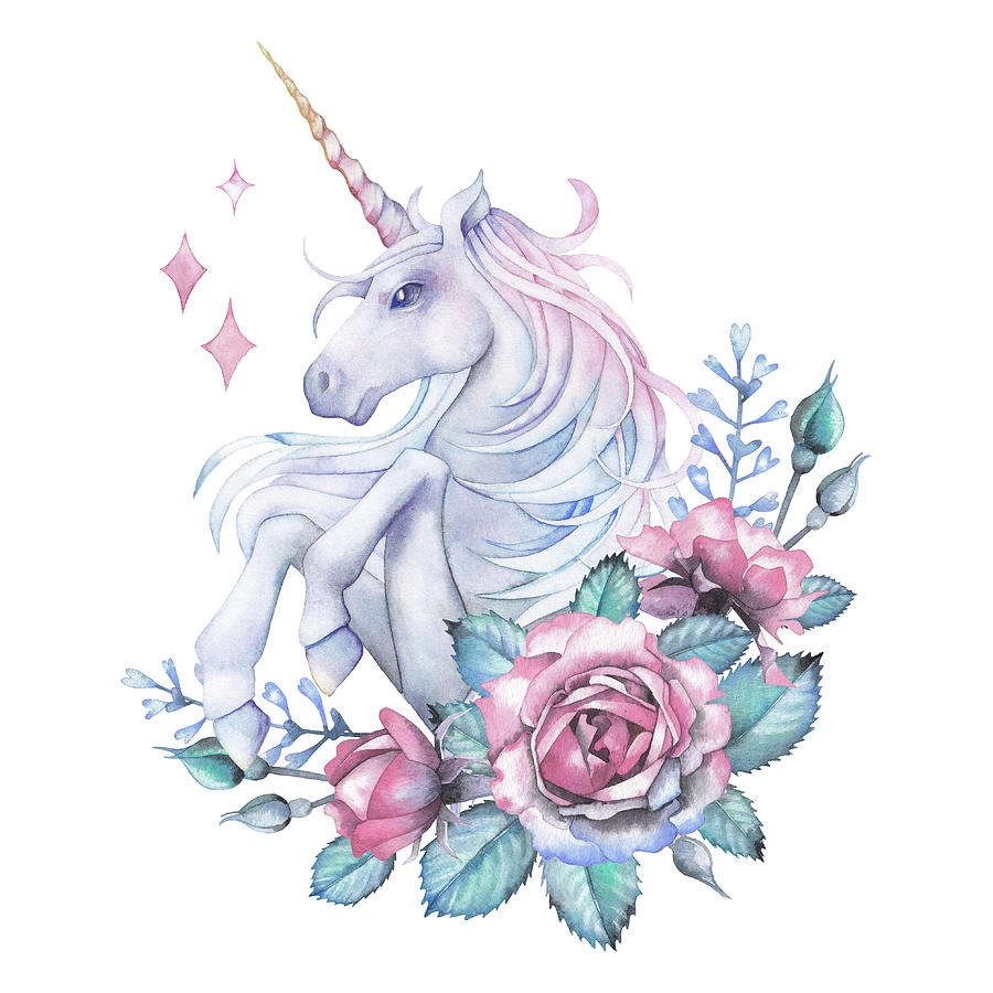 Watercolor Design With Unicorn And Rose Digital Art by Homunkulus28