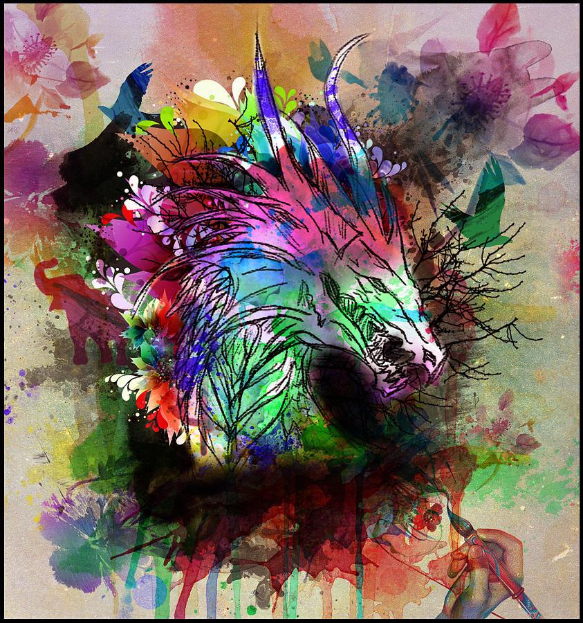 Abstract Photograph - Watercolor Dragon by Aya Murrells