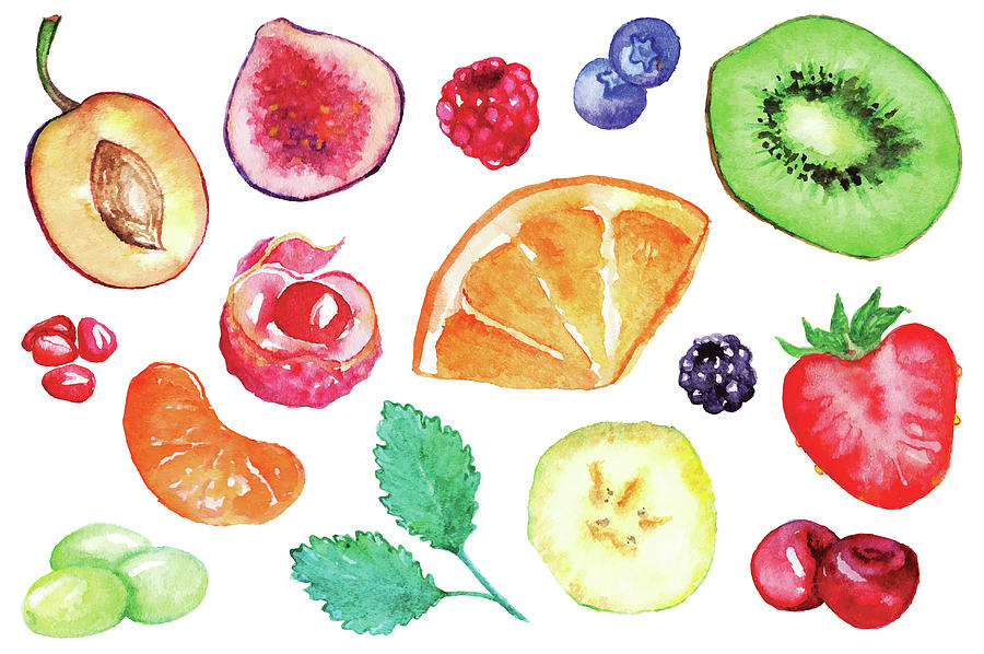 Watercolor Exotic Fruit Berry Slice Set Digital Art by Silmairel