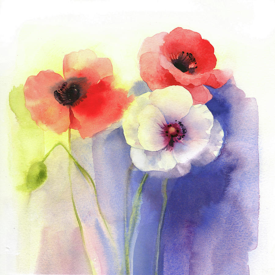 Watercolor Floral Painting By P S Art Studios