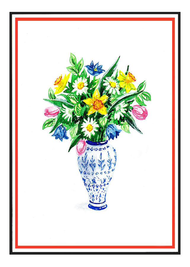 watercolor flowers bouquet in chinese antique vase painting by irina