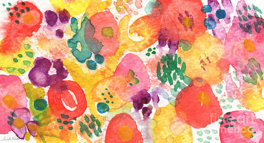 Flowers Painting - Watercolor Garden by Linda Woods