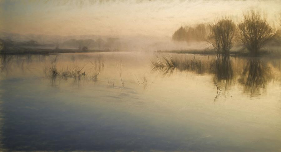 Landscape Photograph - Watercolor Landscape Of Lake In Mist With Sun Glow At Sunrise by Matthew Gibson