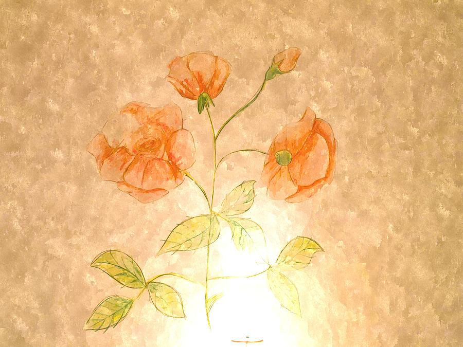 Watercolor Of Roses Fresco Decoration On Wall Painting By Ammar