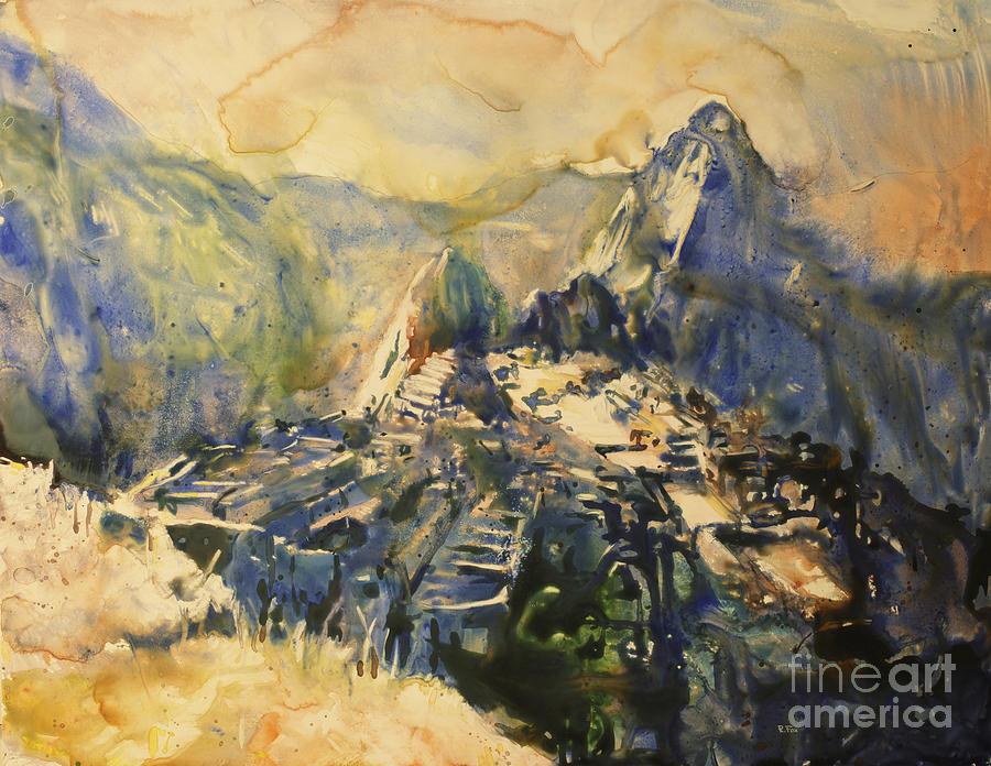 Machu Picchu Painting - Watercolor Painting Machu Picchu Peru by Ryan Fox