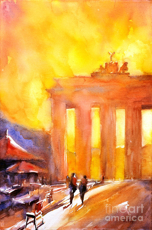 Church Germany Painting - Watercolor Painting Of Brandenburg Gate Berlin Germany by Ryan Fox