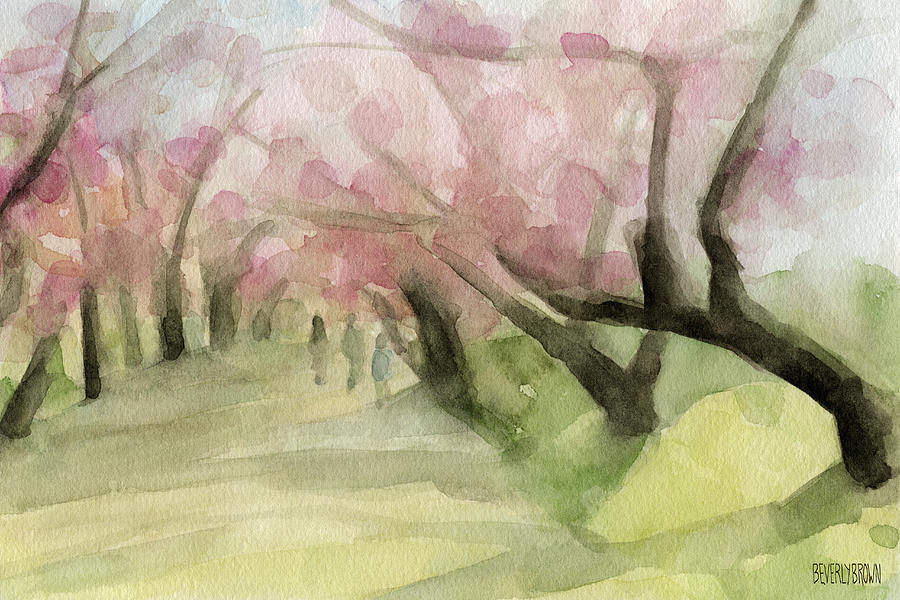 Landscape Painting - Watercolor Painting of Cherry Blossom Trees in Central Park NYC by Beverly Brown