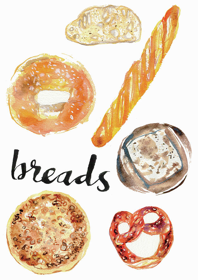 Watercolor Painting Of Different Breads Painting By Ikon Ikon Images