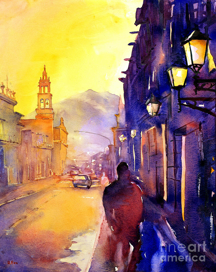 American Watercolor Society Painting - Watercolor Painting Of Street And Church Morelia Mexico by Ryan Fox