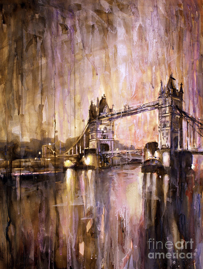 Automobile Painting - Watercolor Painting Of Tower Bridge London England by Ryan Fox