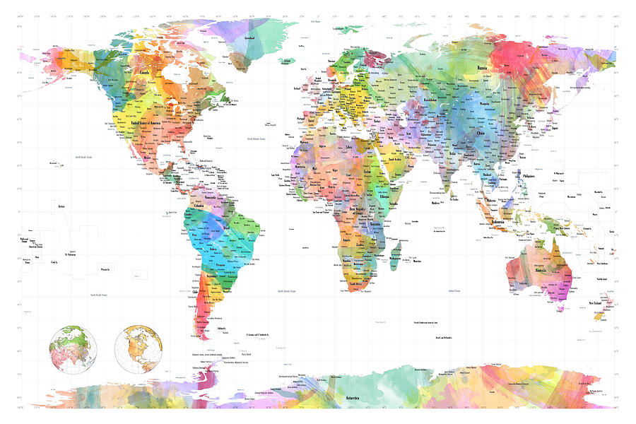 Watercolor Political Map Of The World Digital Art By Michael Tompsett - Political map world