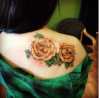 Watercolor Yellow Roses Tattoo Mixed Media by Cynthia Satton
