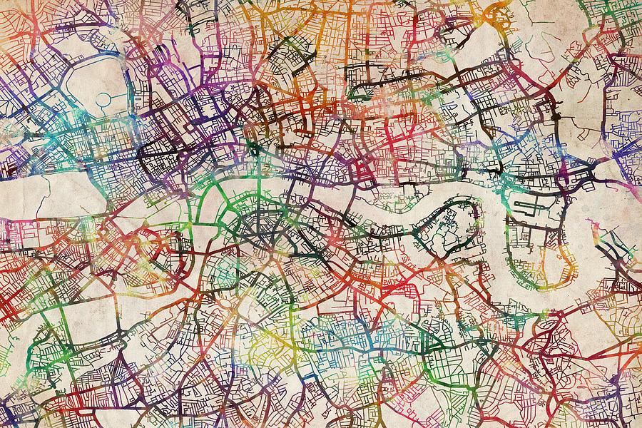 london digital art watercolour map of london by michael tompsett