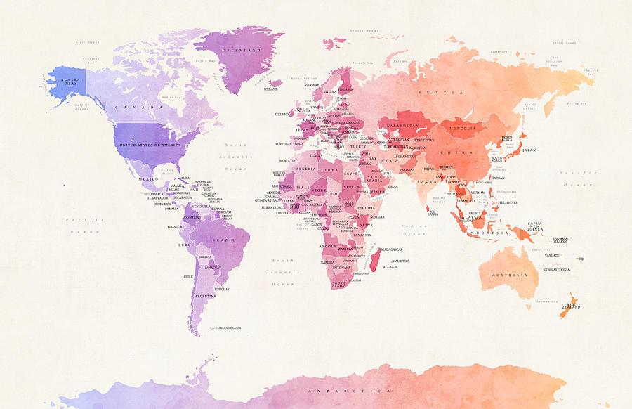 Watercolour Political Map Of The World Digital Art by Michael Tompsett