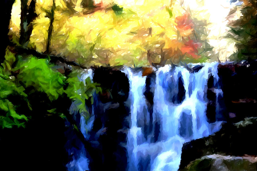 Creek Painting - Waterfall 1 by Lanjee Chee