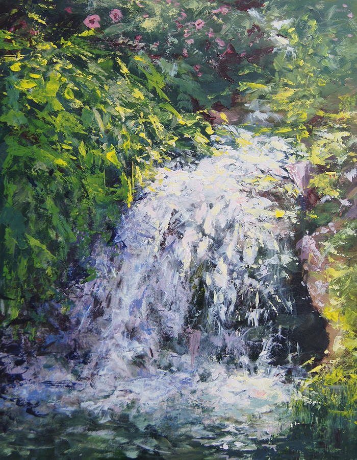 Waterfall Painting - Waterfall At Chicago Botanic Gardens by Mary Haas