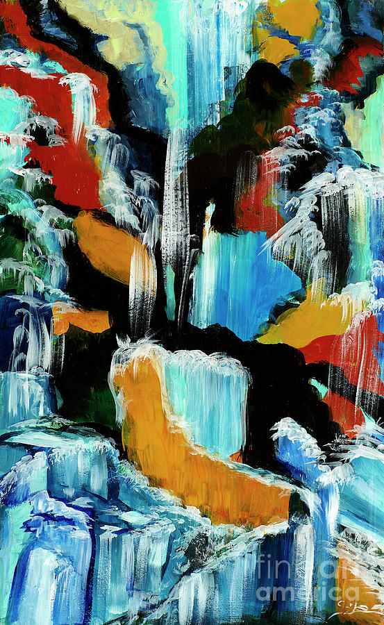 Abstracts Painting - Waterfall Cascade by Lidija Ivanek - SiLa