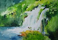 Landscape Painting - Waterfall by Deepali Sagade