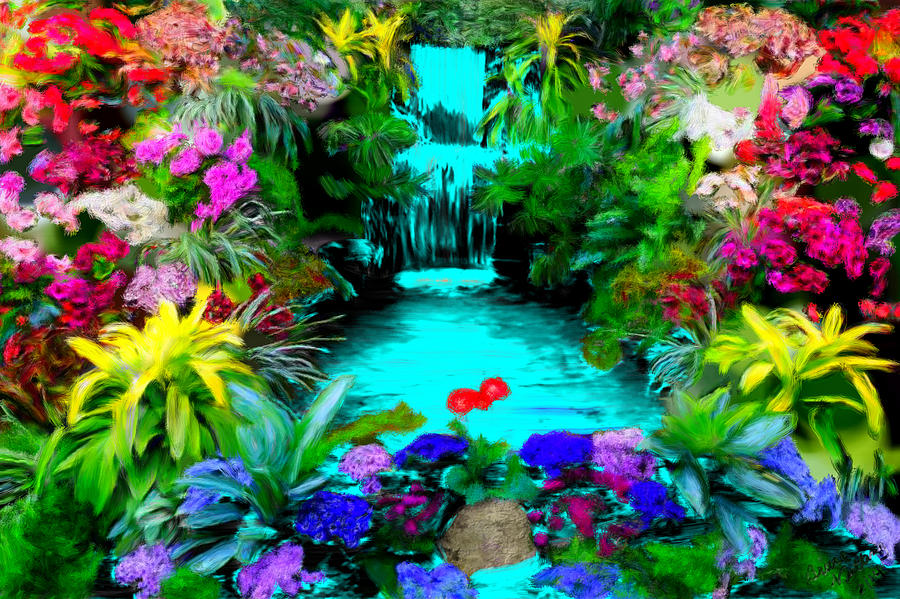 yellow painting waterfall flower garden by bruce nutting - Flower Garden Paintings