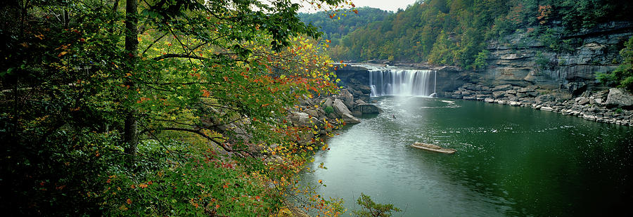 Horizontal Photograph - Waterfall In Forest, Cumberland Falls by Panoramic Images