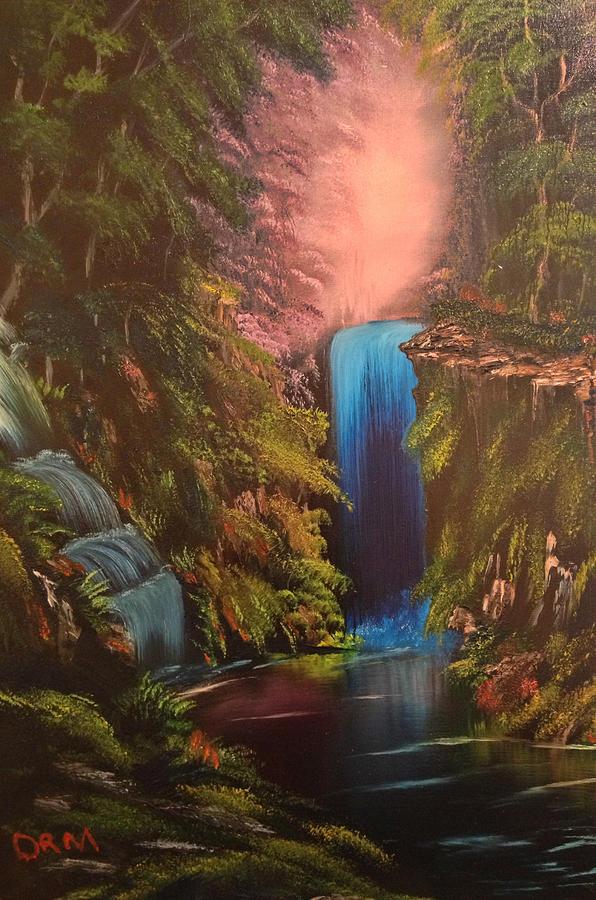 Waterfall Painting - Waterfall In The Woods by Koko Elorm