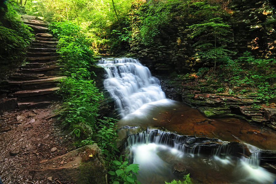 Waterfall Photograph - Waterfall Paradise With Stone Stairway by Aaron Smith