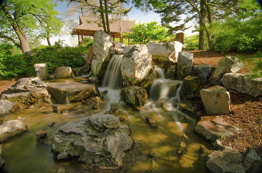 Waterfall Pond Osaka Garden Photograph