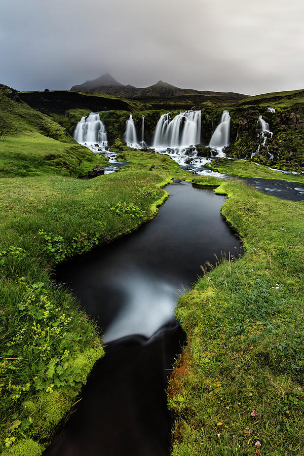 Waterfall, River And Rock Formations In Photograph by Pixelchrome Inc