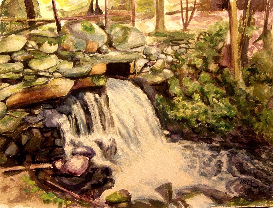 Landscape Painting - Waterfall Sharon Audubon 12x16 by Nicolas Bouteneff