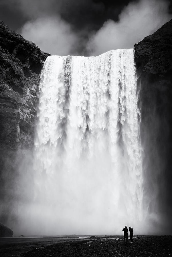 Waterfall Skogafoss Iceland Black And White Photograph By