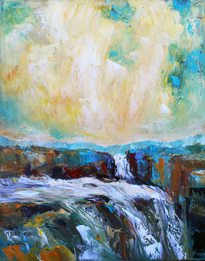 Landscape Oil Painting - Waterfalls 2 by Becky Kim