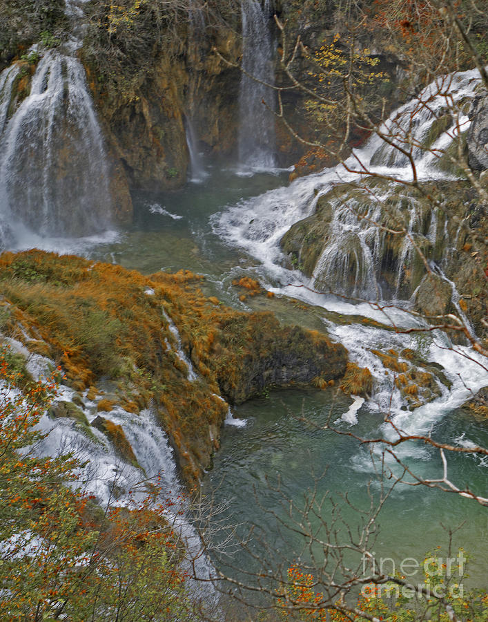 Waterfalls connecting Plitvice Lakes by Joan McArthur