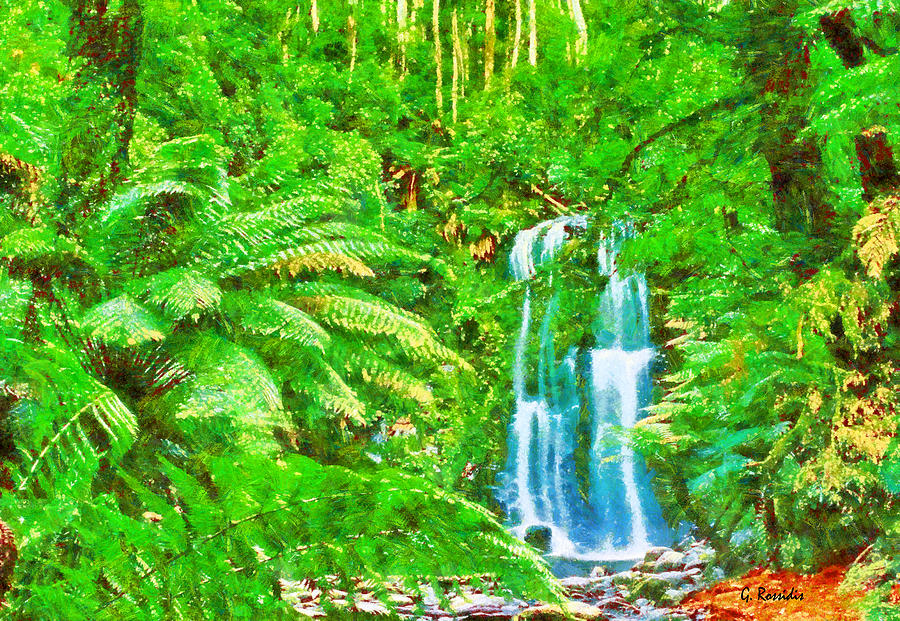 Forest Painting - Waterfalls by George Rossidis