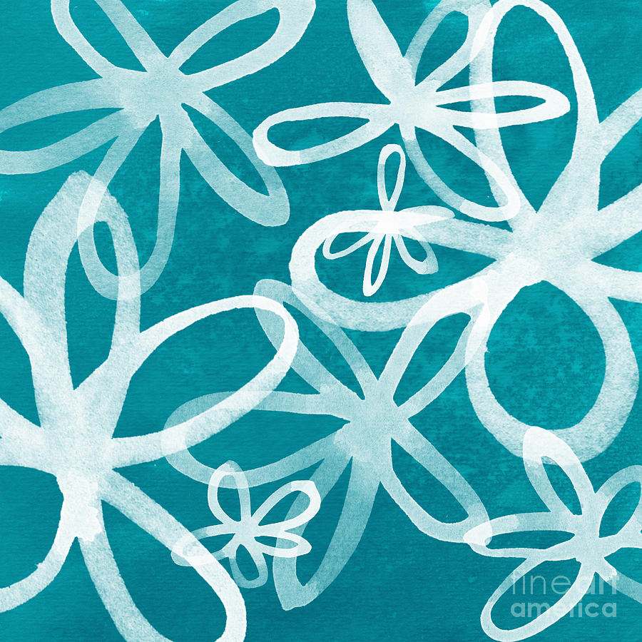 Waterflowers- Teal And White Painting