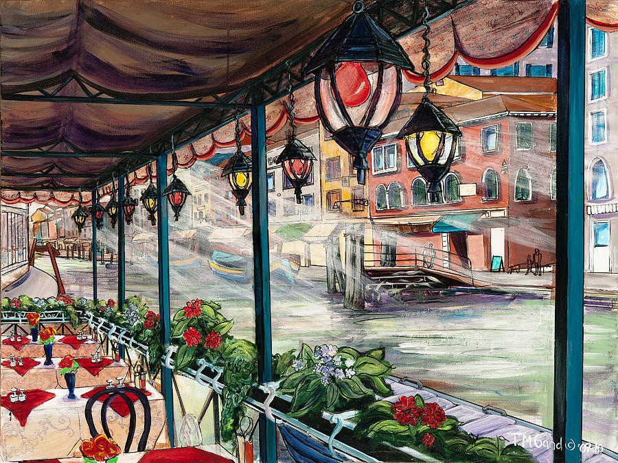 Contemporary Painting - Waterfront Cafe by TM Gand