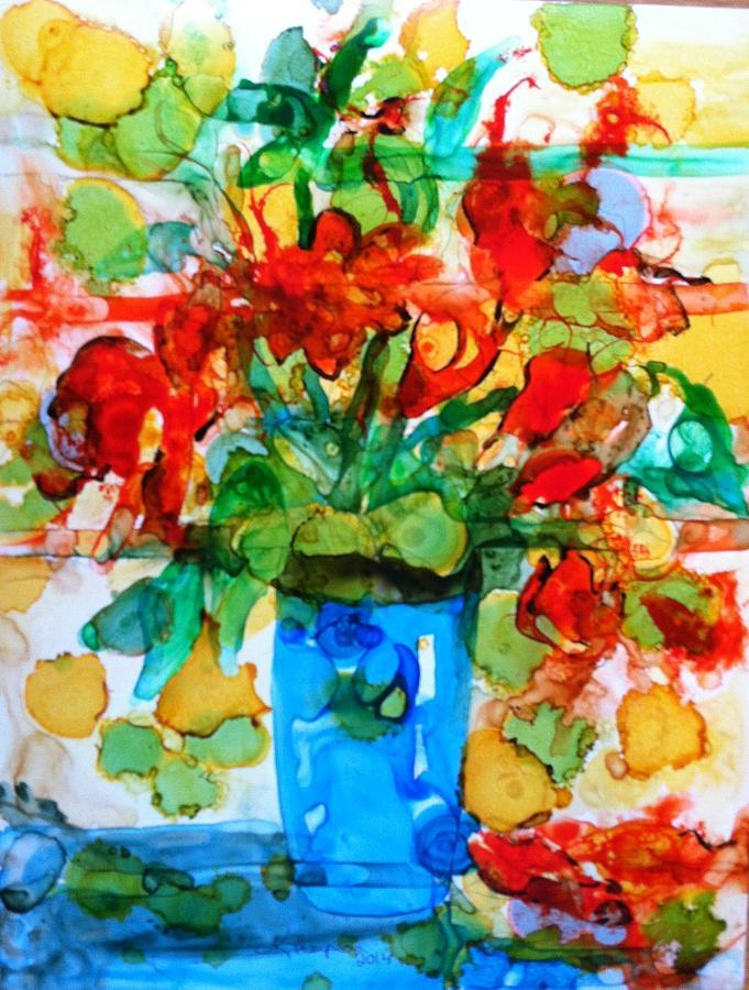 Floral Painting - Waterglass Bouquet by Kristina Thompson