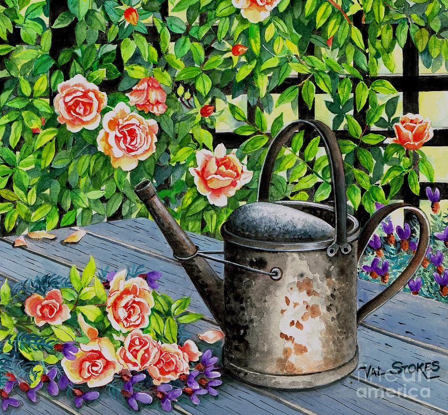 Large Painted Metal Watering Can