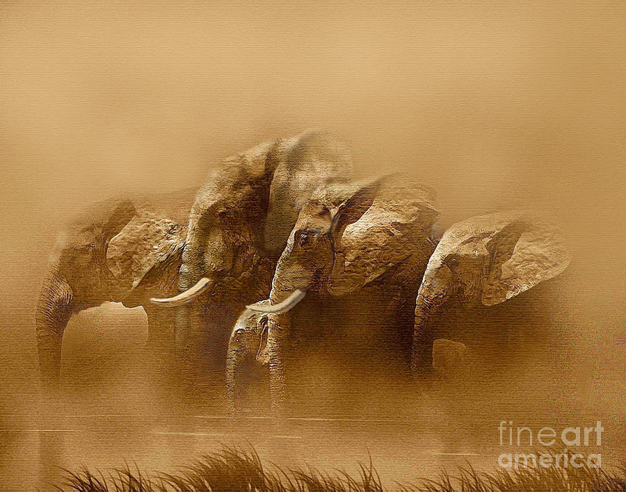 Elephant Painting - Watering Hole by Robert Foster