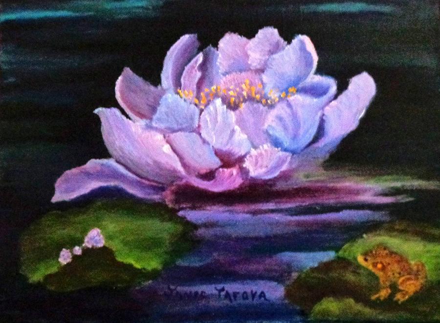 Water Painting - Waterlillie by Janis  Tafoya