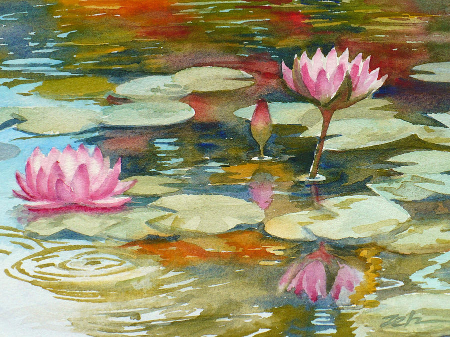 Waterlilies Painting - Waterlily Pond by Janet Zeh