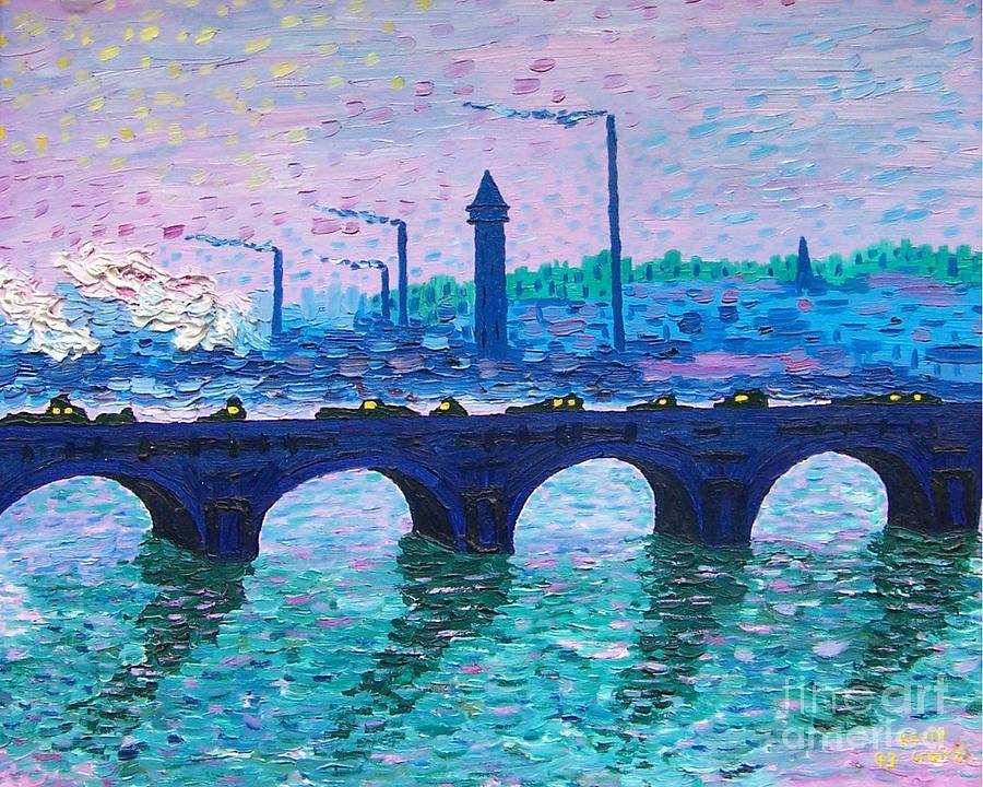 Waterloo Bridge Painting - Waterloo Bridge Homage To Monet by Kevin Croitz
