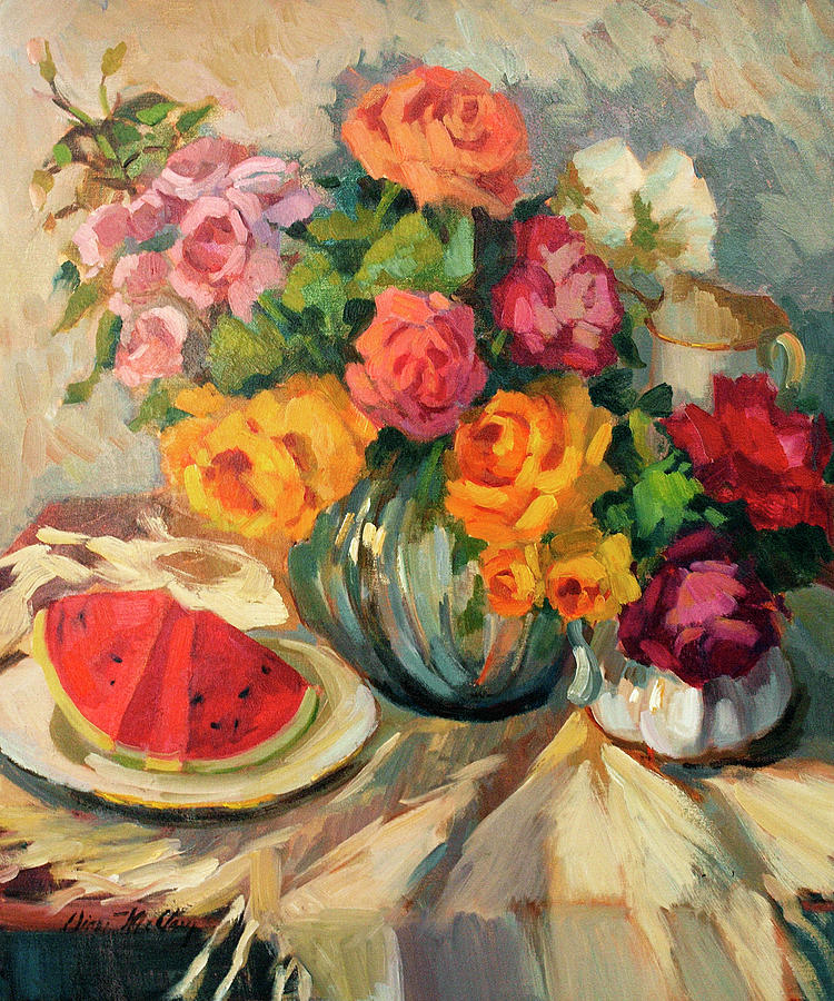 Pastel Roses Painting - Watermelon And Roses by Diane McClary