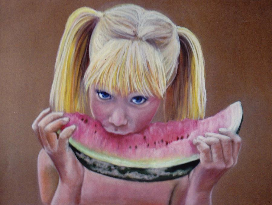 Watermelon Slice Pastel - Watermelon Bite by Colleen Gallo
